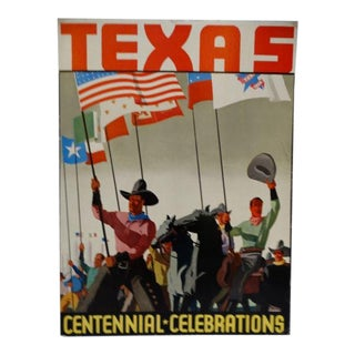 1936 Texas Centennial Poster Cowboys Under Many Flags For Sale