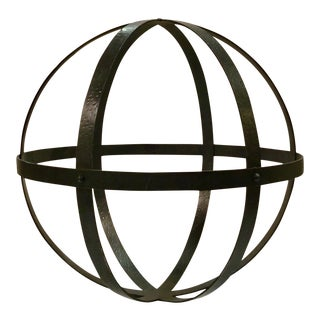 Currey & Co, Industrial Modern Large Textured Iron Sphere Sculpture For Sale