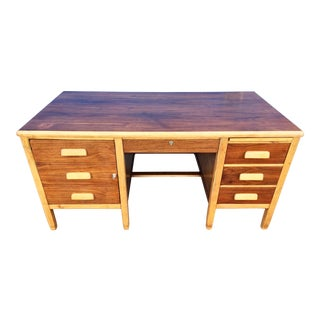 Traditional Restored Oak and Mahogany Piped Executive Desk