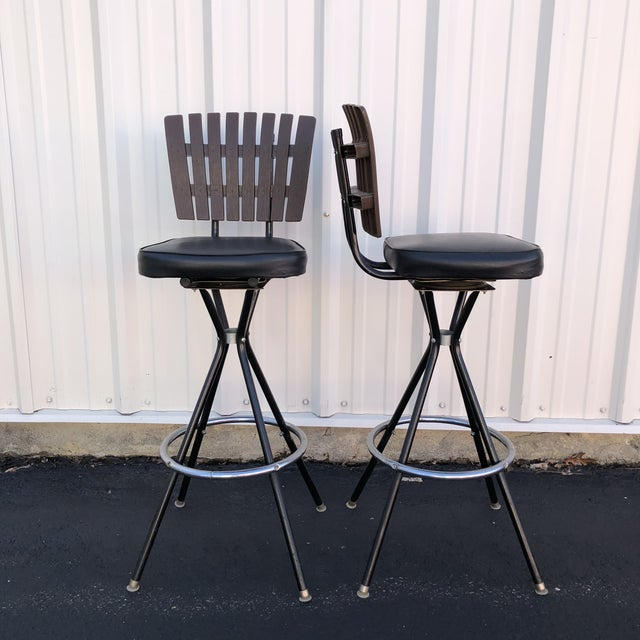 Mid-Century Modern Swivel Bar Stools- A Pair For Sale In New York - Image 6 of 11