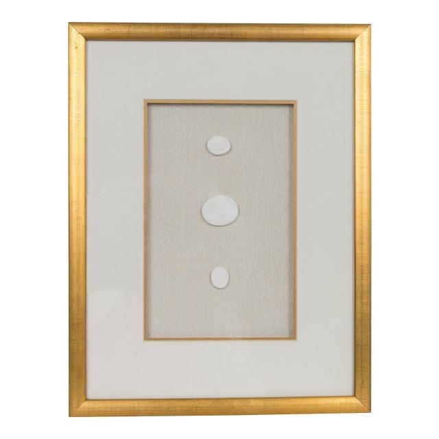 Framed Vintage Intaglios in Brushed Gold Frame For Sale