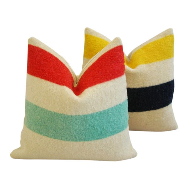 Multi-Striped Hudson's Bay Blanket Pillows - Pair - Image 1 of 11