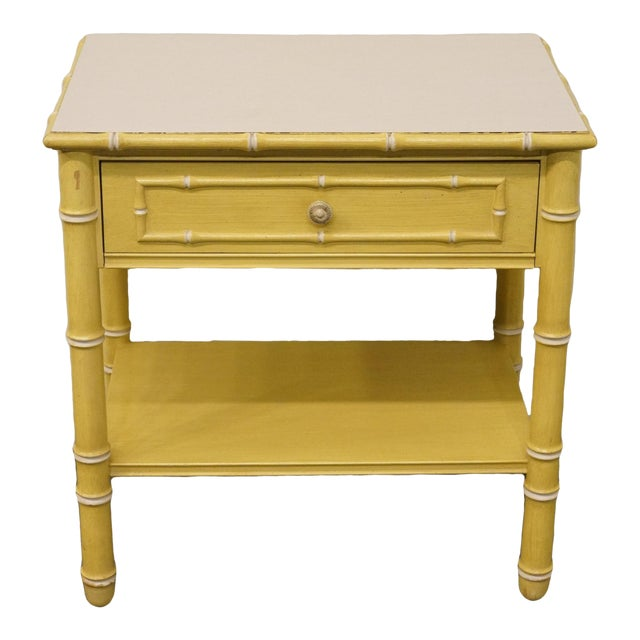Vintage Thomasville Furniture Allegro Collection Asian Faux Bamboo Nightstand For Sale