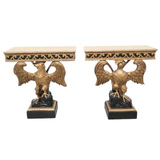 Pair of Georgian Style Gilt Carved Eagle Consoles For Sale