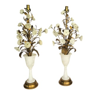 1960s Vintage Alabaster Gold Leaf Italian Lamps - A Pair For Sale