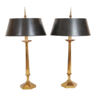 Early Pair 1950s Frederick Cooper for Tyndale Decorative Brass Lamps W Stunning Finials For Sale