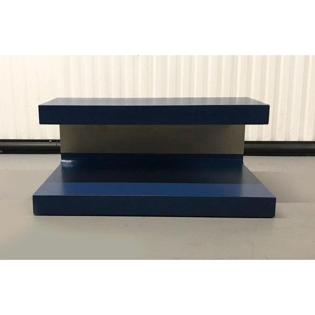 Abstract 1970s Cobalt Blue Grasscloth Covered C-Shaped Table For Sale - Image 3 of 12