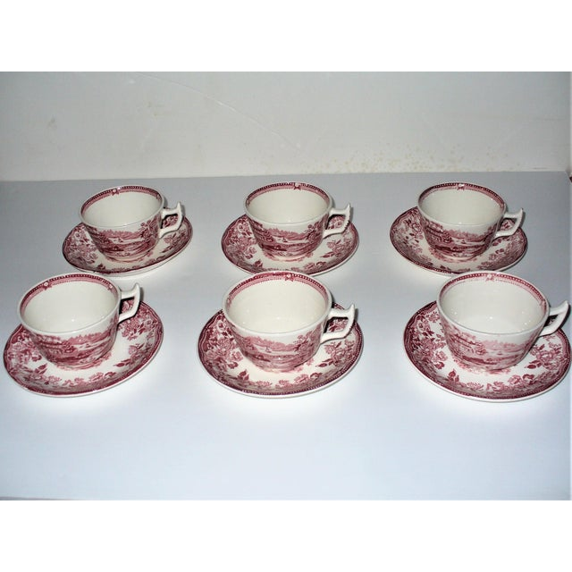 Alfred Meakin Tonquin Pattern Red Cups and Saucers by Stafforshire England - Set of 6 For Sale - Image 10 of 10