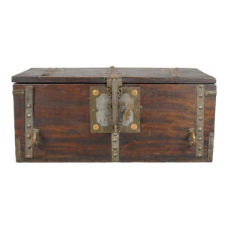 Large French Wooden Box With Copper Mounts