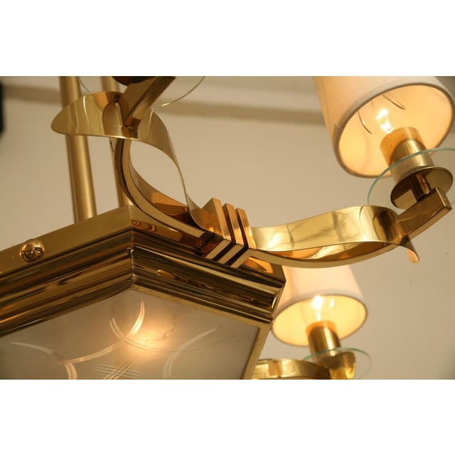 French Brass and Glass Chandelier Inspired by Gilbert Poillerat - Image 6 of 9