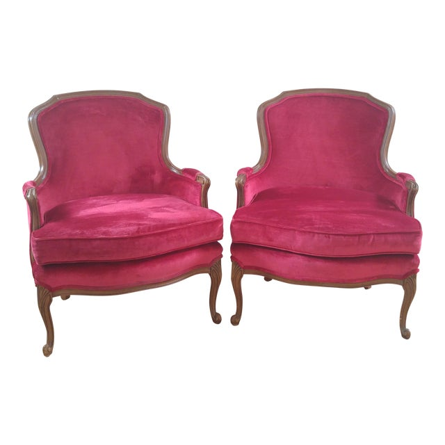 W & J Sloane French Provincial Raspberry Red Velvet Chairs - A Pair For Sale