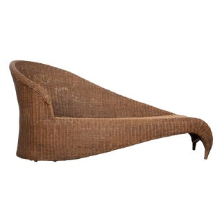 French Early 20th Century Récamière Style Wicker Sofa For Sale