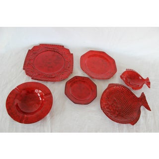 Italian Red Glazed Ceramic Dinner Set Preview