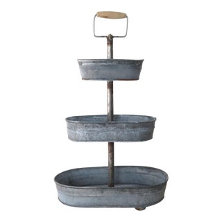 Rustic Zinc Tiered Serving Tray