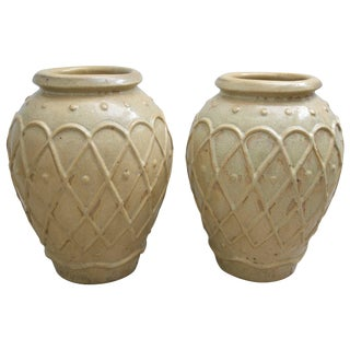 American Art Deco Glazed Pottery Urns Planters Cache Pot by Galloway - a Pair For Sale