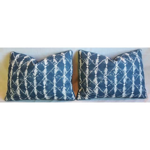 "Designer Chris Barrett Blue & White Feather/Down Pillows 23"" X 17"" - Pair For Sale In Los Angeles - Image 6 of 13"