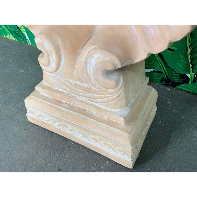 Glass Hollywood Regency Shell Form Console Table After Edward Wormley For Sale - Image 7 of 8