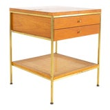 Image of Paul McCobb for Calvin Group Mid Century Oak and Brass Nightstand For Sale