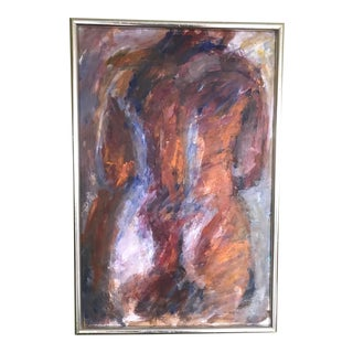 Mid 20th Century Abstract Figurative Nude Oil Painting, Framed For Sale