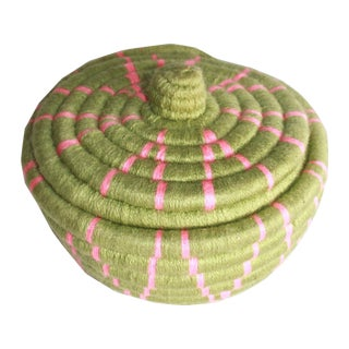 Moroccan Jane Small Woven Green Straw Basket For Sale