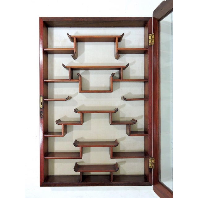 Brass Vintage Chinoiserie Solid Rosewood 'Ming Style' Glass Front Display Wall Cabinet For Sale - Image 7 of 8