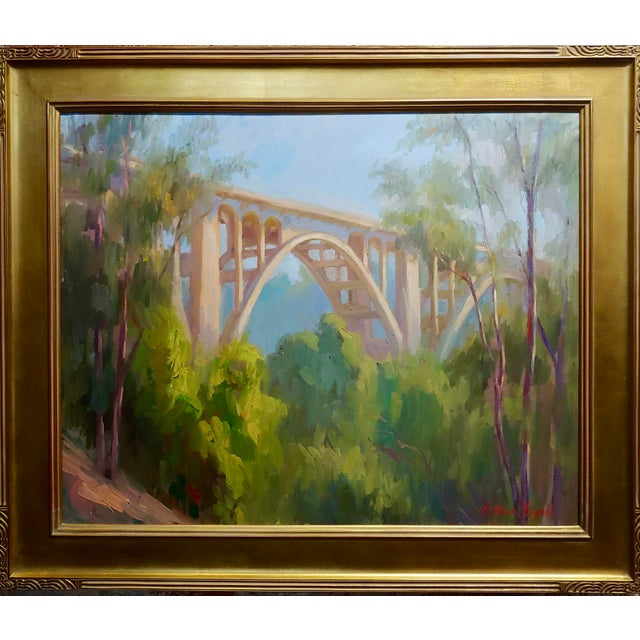 "Modern Arthur Bjorn Egeli ""Colorado Street Bridge"" Signed Oil Painting For Sale - Image 3 of 8"