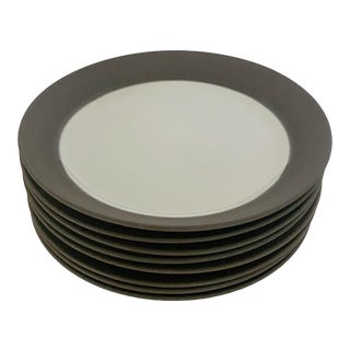 Mid-Century Jens H. Quistgaard for Dansk Matte Flamestone Pottery Salad Plates - Set of 8 For Sale