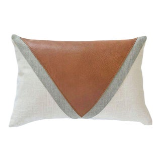 "Boho Chic Pima Leather Triangle Color Block Pillow Cover - 12""x18"" For Sale"