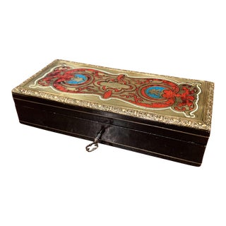 19th Century French Napoleon III Blackened Walnut and Brass Jewelry Box For Sale
