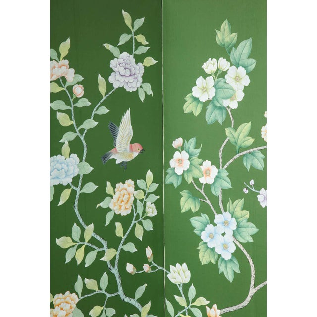 Early 20th Century Green Chinoiserie Six-Panel Hand-Decorated Screen For Sale - Image 5 of 11