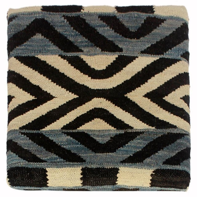 Delois Blue/Ivory Kilim Upholstered Handmade Storage Ottoman For Sale In New York - Image 6 of 8