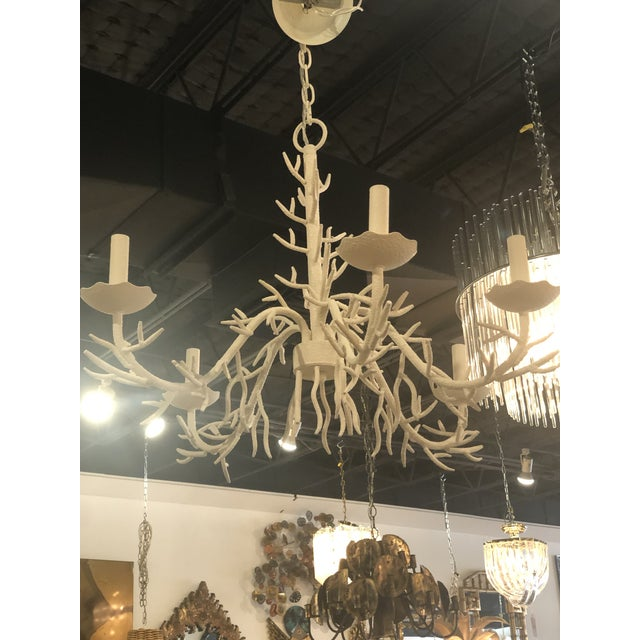 1970s Vintage Palm Beach Metal Coral 5 Light Chandelier For Sale - Image 5 of 10