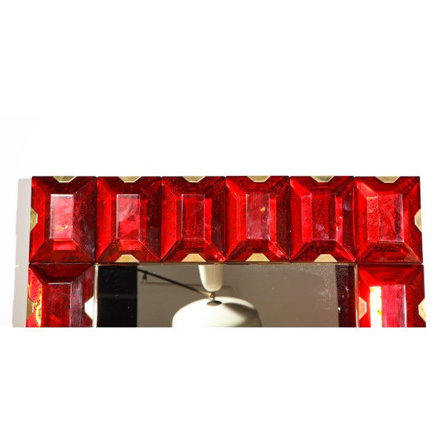 Large Murano Glass Block Mirror For Sale - Image 9 of 12