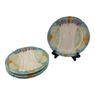 French Majolica Asparagus Plates- Set of 4 For Sale
