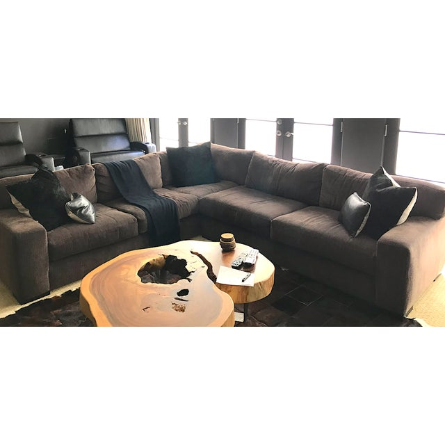 Brown Designer Deep Down Blend Sectional Sofa For Sale - Image 8 of 12