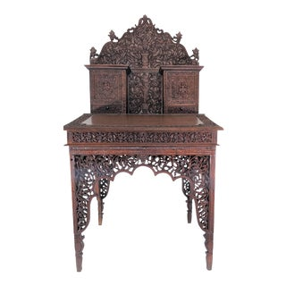 19th Century Antique Anglo-Indian Hand Carved Writing Table For Sale