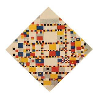 """1958 After Piet Mondrian """"Victory Boogie-Woogie (Unfinished)"""" Vintage Full Color Print From England For Sale"""
