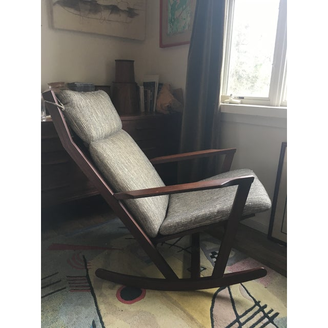 Beautiful rocking chair by Danish mid century designer Poul Volther for Frem Rojle. 1960s. Original fabric upholstered...