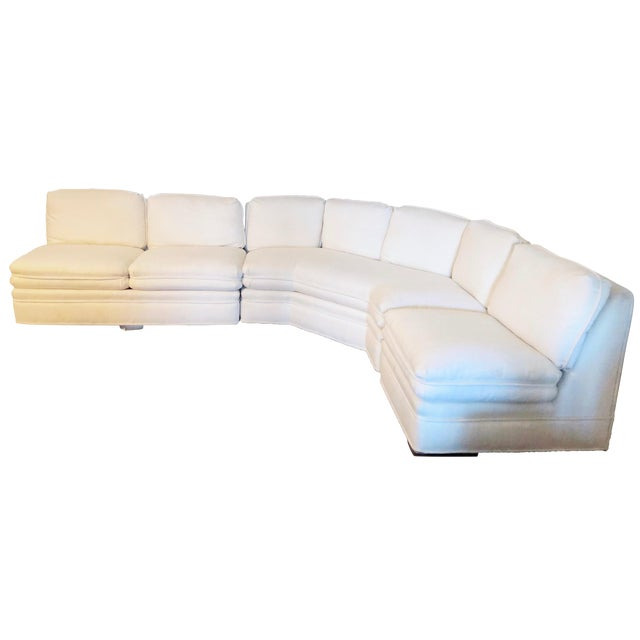 Vintage 1984 White Sherrill Sectional Sofa For Sale