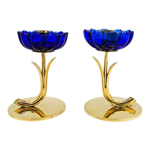 1950s Mid-Century Swedish Gunnar Ander for Ystad-Metall Cobalt Blue Glass Flower & Brass Candleholders - a Pair For Sale