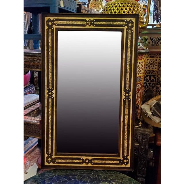 Metal Large Moroccan Rectangular Resin Inlay Mirror For Sale - Image 7 of 7