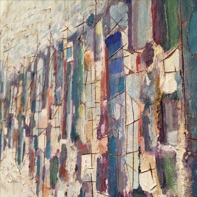 Mid-Century Abstract Cityscape Painting - Image 7 of 9
