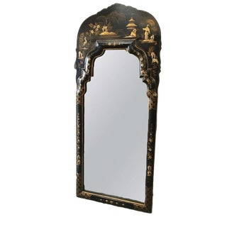 Chinoiserie Asian Black Lacquer Wall Mirror For Sale