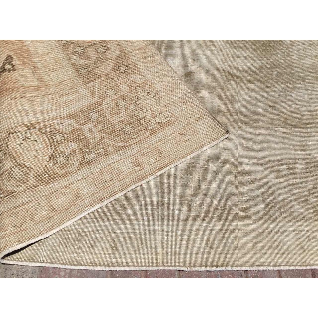 Oversized Antique Distressed Hand Knotted Oushak Rug For Sale - Image 10 of 11