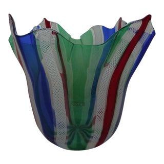 Latticello Fazzoletto Oggetti Murano Glass Vase For Sale