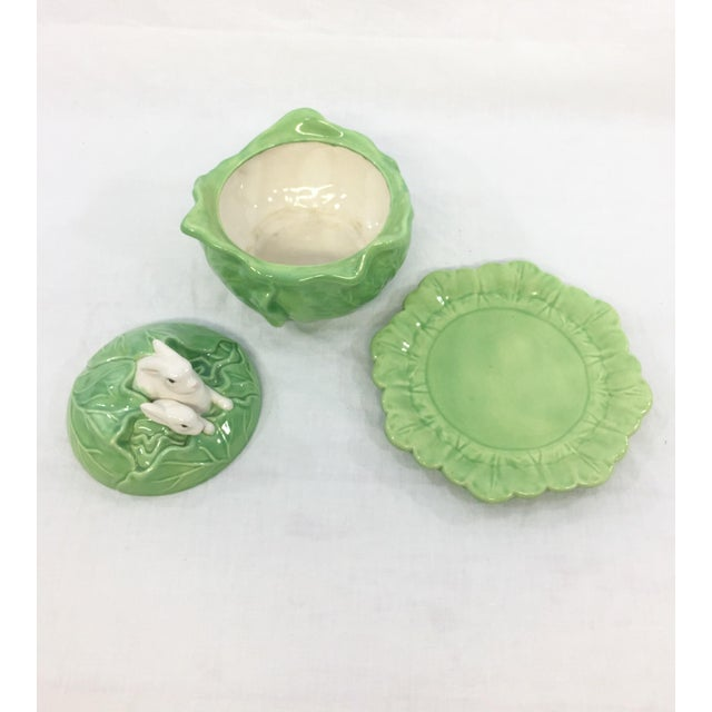 White Rabbit & Cabbage Tureen & Under Plate For Sale - Image 8 of 10