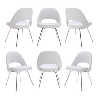 Saarinen Executive Armless Chairs in Dove Luxe Suede - Set of 6