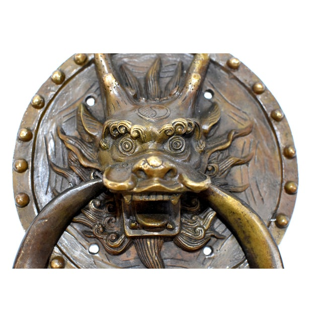 Brass Vintage Mid Century Dragon Door Knockers- a Pair For Sale - Image 7 of 13