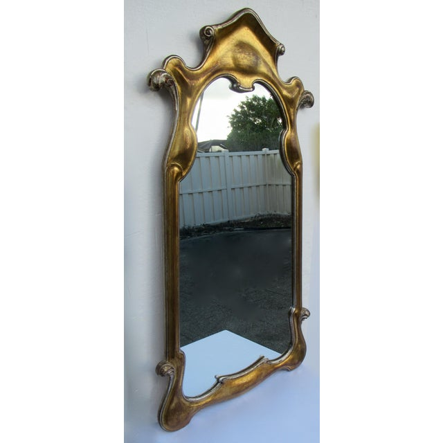 Vintage Hollywood Regency Dorothy Draper-Style Parcel Gilt Gold & Silver Ornate Curvy Mirror For Sale In West Palm - Image 6 of 13