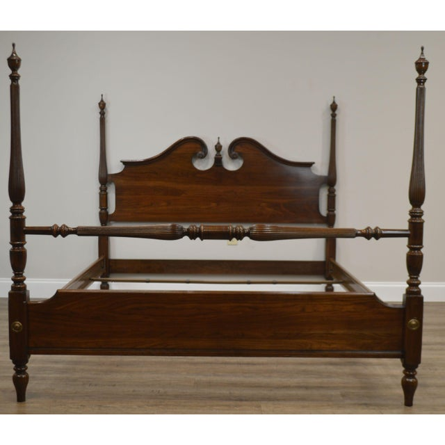 Brown Ethan Allen Georgian Court Solid Cherry Queen Poster Bed For Sale - Image 8 of 13